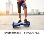 male legs and hoverboard. blue...   Shutterstock . vector #649309768