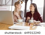 beautiful young women drinking... | Shutterstock . vector #649312240