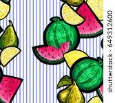 seamless pattern of set friuts... | Shutterstock .eps vector #649312600