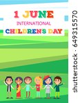 1 june childrens day colorful... | Shutterstock .eps vector #649315570