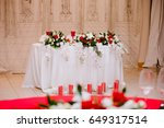newlyweds table decorated with... | Shutterstock . vector #649317514
