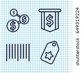 set of 4 price outline icons...