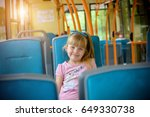 a little girl is going by bus | Shutterstock . vector #649330738