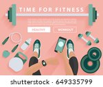 fitness equipment flat concept  ... | Shutterstock .eps vector #649335799