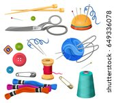 set of accessories for sewing...   Shutterstock .eps vector #649336078