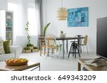 white apartment with green... | Shutterstock . vector #649343209