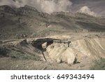Small photo of Bridge Inca (Puente del Inca) bridge of natural origin across river Mendoza, Argentina, Patagonia