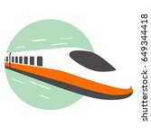 high speed bullet train come... | Shutterstock .eps vector #649344418