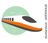 high speed bullet train come... | Shutterstock .eps vector #649344418