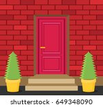 front door house exterior flat... | Shutterstock .eps vector #649348090