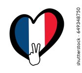 france vector flag inside heart ... | Shutterstock .eps vector #649348750