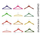 wooden clothes hangers vector.... | Shutterstock .eps vector #649348960