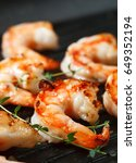 grilled tiger shrimps with... | Shutterstock . vector #649352194