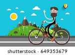 travel on bike. man on bicycle. ... | Shutterstock .eps vector #649353679