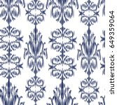 blue ikat ogee and damascus... | Shutterstock .eps vector #649359064