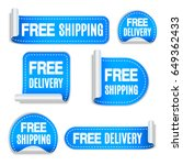set of free shipping and free... | Shutterstock . vector #649362433
