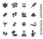 vector drugs icons set on white ... | Shutterstock .eps vector #649363894