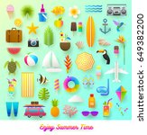 set of summer vacation and... | Shutterstock .eps vector #649382200