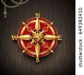 golden ancient compass rose on... | Shutterstock .eps vector #649382410
