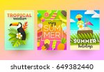 set of summer holidays and... | Shutterstock .eps vector #649382440