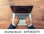 man typing keyboard laptop hand.... | Shutterstock . vector #649382674