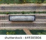 a loaded gondola car seen from... | Shutterstock . vector #649385806