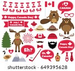 canada day design elements and... | Shutterstock .eps vector #649395628
