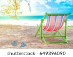 colorful beach chair on summer... | Shutterstock . vector #649396090