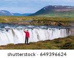 godafoss waterfall. beautiful... | Shutterstock . vector #649396624