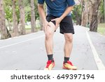 man having knee pain while... | Shutterstock . vector #649397194