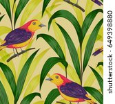 seamless pattern with tropical... | Shutterstock .eps vector #649398880
