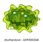 paper art carving with farm.... | Shutterstock .eps vector #649400368