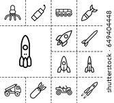 rocket icon. set of 13 outline... | Shutterstock .eps vector #649404448