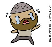 cartoon bearded man crying | Shutterstock .eps vector #649415869
