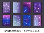 card set with floral glowing...   Shutterstock .eps vector #649418116