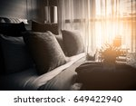 bed maid up with clean white... | Shutterstock . vector #649422940