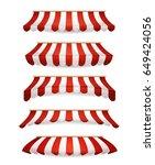 striped awnings for market... | Shutterstock .eps vector #649424056