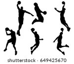 set of basketball player... | Shutterstock .eps vector #649425670