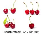 red sweet cherry isolated on... | Shutterstock . vector #649434709