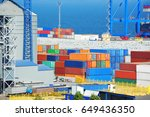 port cargo crane and container  ... | Shutterstock . vector #649436350