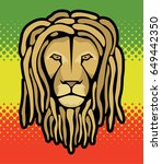 lion's head with dreadlocks and ...   Shutterstock .eps vector #649442350