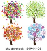 vector four season trees | Shutterstock .eps vector #64944406