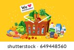 basket of fresh produce from... | Shutterstock .eps vector #649448560