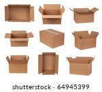 Cardboard Boxes Isolated On...