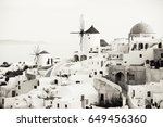 traditional oia windmills in...