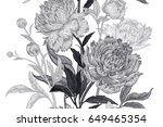 peonies seamless floral pattern.... | Shutterstock . vector #649465354