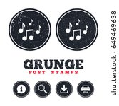 grunge post stamps. music notes ...   Shutterstock .eps vector #649469638