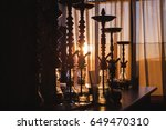 Small photo of Row of the Hookah in sunset light , kalian silhouette