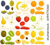 fruit set. whole  sliced and... | Shutterstock .eps vector #649474360
