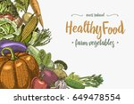fresh vegetables background... | Shutterstock .eps vector #649478554